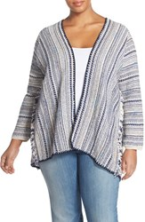 Plus Size Women's Lucky Brand 'Pottery' Open Front Cardigan Multi