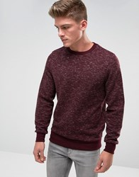 Threadbare Space Dye Quilted Crew Neck Sweat Red