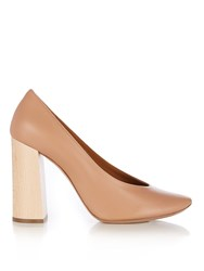 Chloe Harper Block Heel Leather Pumps Nude