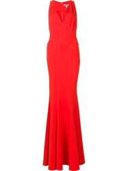 Zac Posen V Neck Gown Red