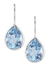 10K White Gold Sky Blue Topaz Teardrop Earrings