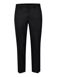 Topman Blue Navy And Rose Check Skinny Fit Cropped Dress Pants