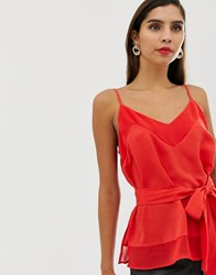 French Connection Belted Cami Top Red