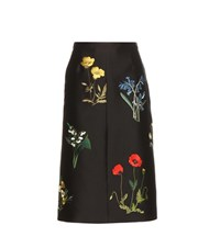Stella Mccartney Embroidered Cotton And Silk Blend Skirt Blue