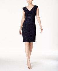 Connected Petite Sleeveless Sequined Lace Dress Navy