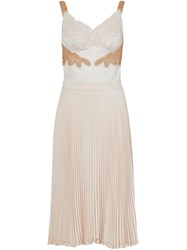 Burberry Lace Trim Cut Out Panel Slip Dress Neutrals