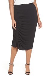 Vince Camuto Plus Size Women's Side Ruched Pencil Skirt Rich Black