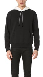 3.1 Phillip Lim Contrast Hood Sweatshirt With Zipper Soft Black