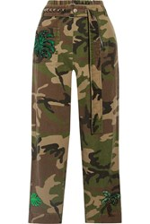 Marc Jacobs Embellished Camouflage Print Cotton Twill Tapered Pants Green