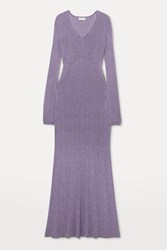Lanvin Ribbed Lurex Midi Dress Lilac