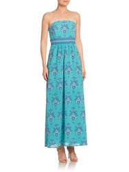 Vineyard Vines Silk And Cotton Strapless Maxi Dress Fjord