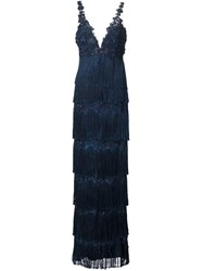 Marchesa Notte Fringed Gown Blue