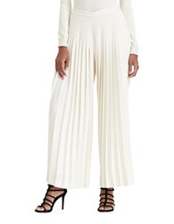 Lauren Ralph Lauren Solid Pleated Wide Legged Pants Ivory