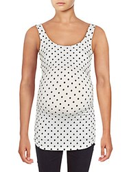 Rosie Pope Maternity Sleeveless Ruched Top White Black Dot
