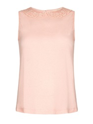 Yumi Lace Collar Shell Top Pink