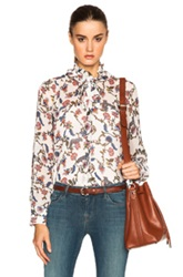See By Chloe Floral Button Down Top In Floral Animal Print White