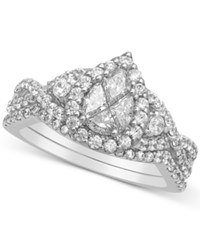 Macy's Diamond Pear Cluster Engagement Ring 1 1 3 Ct. T.W. In 14K White Gold