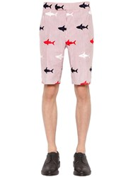 Thom Browne Shark Embroidered Seersucker Shorts