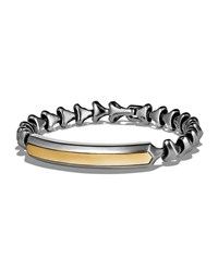 David Yurman Armory Sterling Silver And 18K Yellow Gold Single Row Id Bracelet Men's Silver Gold