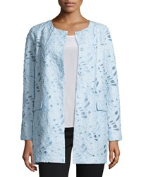 Neiman Marcus Jacquard Burnout Topper Coat Light Blue