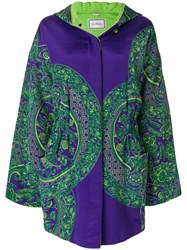 Versace Vintage Floral Padded Hooded Coat Pink And Purple
