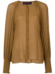 Martin Grant Balloon Sleeve Shirt Women Silk 36 Brown