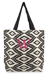 Cathys Concepts Personalized Ikat Jute Tote Black W