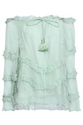 Love Sam Woman Off The Shoulder Ruffle Trimmed Georgette Top Mint