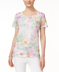 Alfred Dunner Floral Print Lace Top Rose