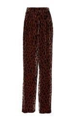 Tibi Cheetah Velvet Wide Leg Pants Print