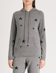 Chinti And Parker Star Intarsia Cashmere Hoody Mid Grey With Navy