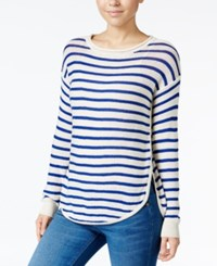 Jessica Simpson Striped High Low Sweater Blue Stripe
