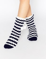 Totes Chunky Knit Sock In Stripe Print Navy Cream Multi