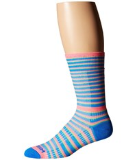 Wrightsock Cool Mesh Striped Crew Single Pack Pink Blue Crew Cut Socks Shoes