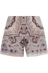 Etro Crochet Trimmed Printed Washed Silk Shorts Lilac