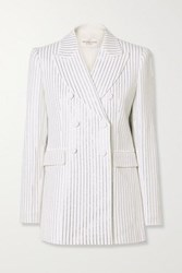 Michael Kors Collection Double Breasted Crystal Embellished Crepe Blazer White