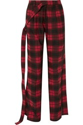 Unravel Project Checked Twill And Denim Straight Leg Pants Red
