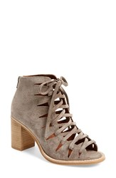 Women's Jeffrey Campbell 'Corwin' Open Toe Bootie Taupe Suede