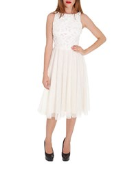 Alexia Admor Faux Leather And Chiffon A Line Dress Off White