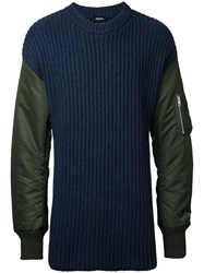 Diesel Padded Sleeve Jumper Blue