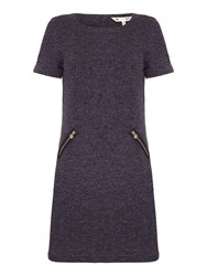 Yumi Grey Knitted Dress With Short Sleeves Charcoal