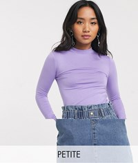 Noisy May Petite High Neck Top In Purple