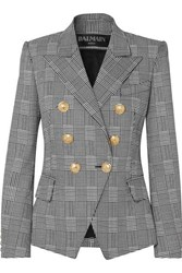 Balmain Double Breasted Prince Of Wales Checked Cotton Blend Blazer Black