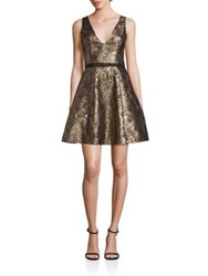 Nha Khanh Gabriel Metallic Brocade Dress Gold