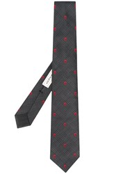 Alexander Mcqueen Skull Patterned Tie Grey