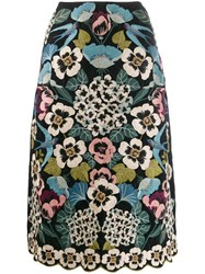 Red Valentino Embroidered Floral A Line Skirt Black