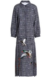 Stella Jean Embroidered Checked Tweed Midi Dress Navy
