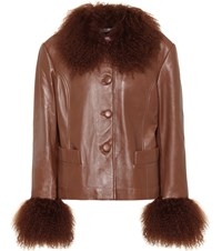 Saks Potts Dorthe Fur Trimmed Leather Jacket Brown