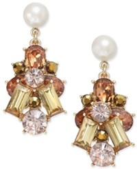 Charter Club Gold Tone Imitation Pearl And Multi Crystal Drop Earrings Only At Macy's