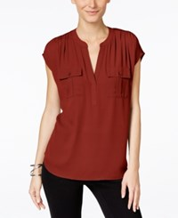 Inc International Concepts Mixed Media Utility Shirt Only At Macy's Burnt Pepper